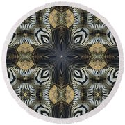 Zebra Cross II Round Beach Towel