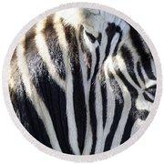 Zebra Face  Round Beach Towel