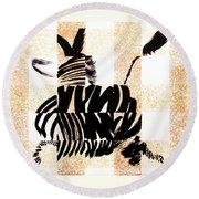 Zebra In Flight Round Beach Towel