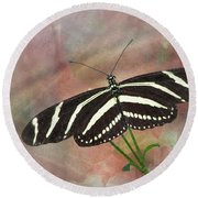 Zebra Longwing Butterfly-3 Round Beach Towel
