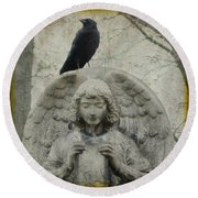 Zen Crow On Stone Angel Round Beach Towel