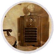 Zenith Consol Radio 1940's  Round Beach Towel