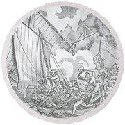 Zheng Yis Pirates Capture John Turner Round Beach Towel by Photo Researchers