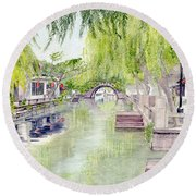 Zhou Zhuang Watertown Suchou China 2006 Round Beach Towel