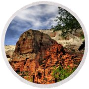 Zion As Water Color Round Beach Towel
