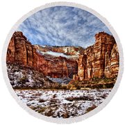 Zion Canyon In Utah Round Beach Towel