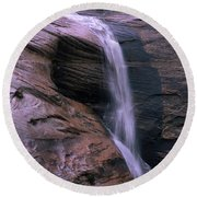 Zion Summer Waterfall Round Beach Towel