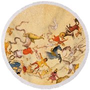 Zodiac Signs From Indian Manuscript Round Beach Towel by Science Source