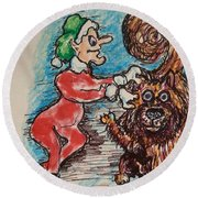 A Elf And Her Dog Round Beach Towel