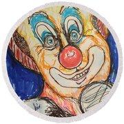 Happy Clown Round Beach Towel