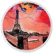 # 9 Paris France Round Beach Towel
