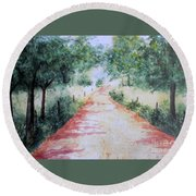 A Country Road Round Beach Towel