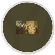 A Group Of Female Mourners At The Tomb Of Achilles Round Beach Towel