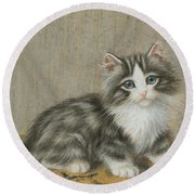 A Kitten On A Table Round Beach Towel
