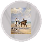 A Ride By The Sea Round Beach Towel