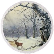 A Stag In A Wooded Landscape  Round Beach Towel