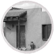 Adobe House  Round Beach Towel