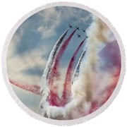Aerobatic Group Formation  Round Beach Towel