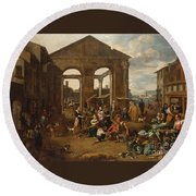 An Italianate Market Scene Round Beach Towel