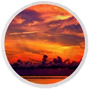 ... And As The Sun Sets On Another Beautiful Day Round Beach Towel