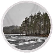 April Snow 3 Round Beach Towel