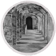 Archway At Moravian Pottery And Tile Works In Black And White Round Beach Towel