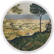 Barcelona Seen From Vallvidrera Round Beach Towel