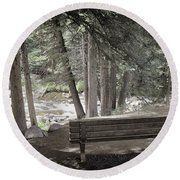 Bench By The Stream Round Beach Towel