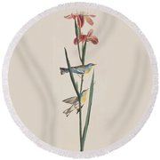 Blue Yellow-backed Warbler Round Beach Towel