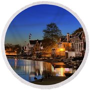 Boathouse Row  Round Beach Towel