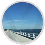 Bridge Over The Sea Round Beach Towel