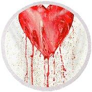 Broken Heart - Bleeding Heart Round Beach Towel
