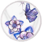 Butterfly Amongst The Flowers Round Beach Towel