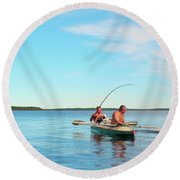 Canoe Fishing  On Blue Lake Round Beach Towel