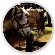 Carriage Ride Round Beach Towel