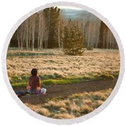 Contemplative Meditation Round Beach Towel