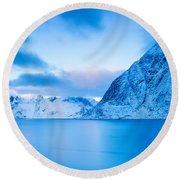 Cool Blue Dawn Over Mount Olstind Round Beach Towel