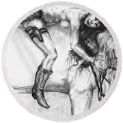 Cowgirl Riding A Hourse Round Beach Towel