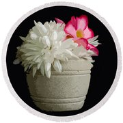 Desert Rose   Chrysanthemum And Adenium Obesum Round Beach Towel
