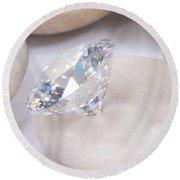 Diamond On White Stone Round Beach Towel