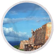 El Morro Fortress Rainbow Round Beach Towel