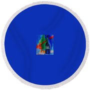 Electric Terra Cotta Blues Round Beach Towel