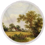 Essex Landscape  Round Beach Towel