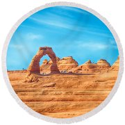 Famous Delicate Arch In Arches National Park Round Beach Towel