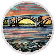 Folsom Bridge Round Beach Towel