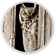 Great Horned Owl Perched In Barn Window Round Beach Towel by Mark Duffy