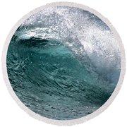 Green Cresting Wave, Hawaii Round Beach Towel