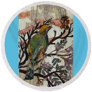 Green-yellow Bird Round Beach Towel