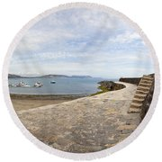 Harbour Wall Lyme Bay Dorset Round Beach Towel
