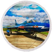 Hawker Hunter T7 Aircraft On Wood Round Beach Towel